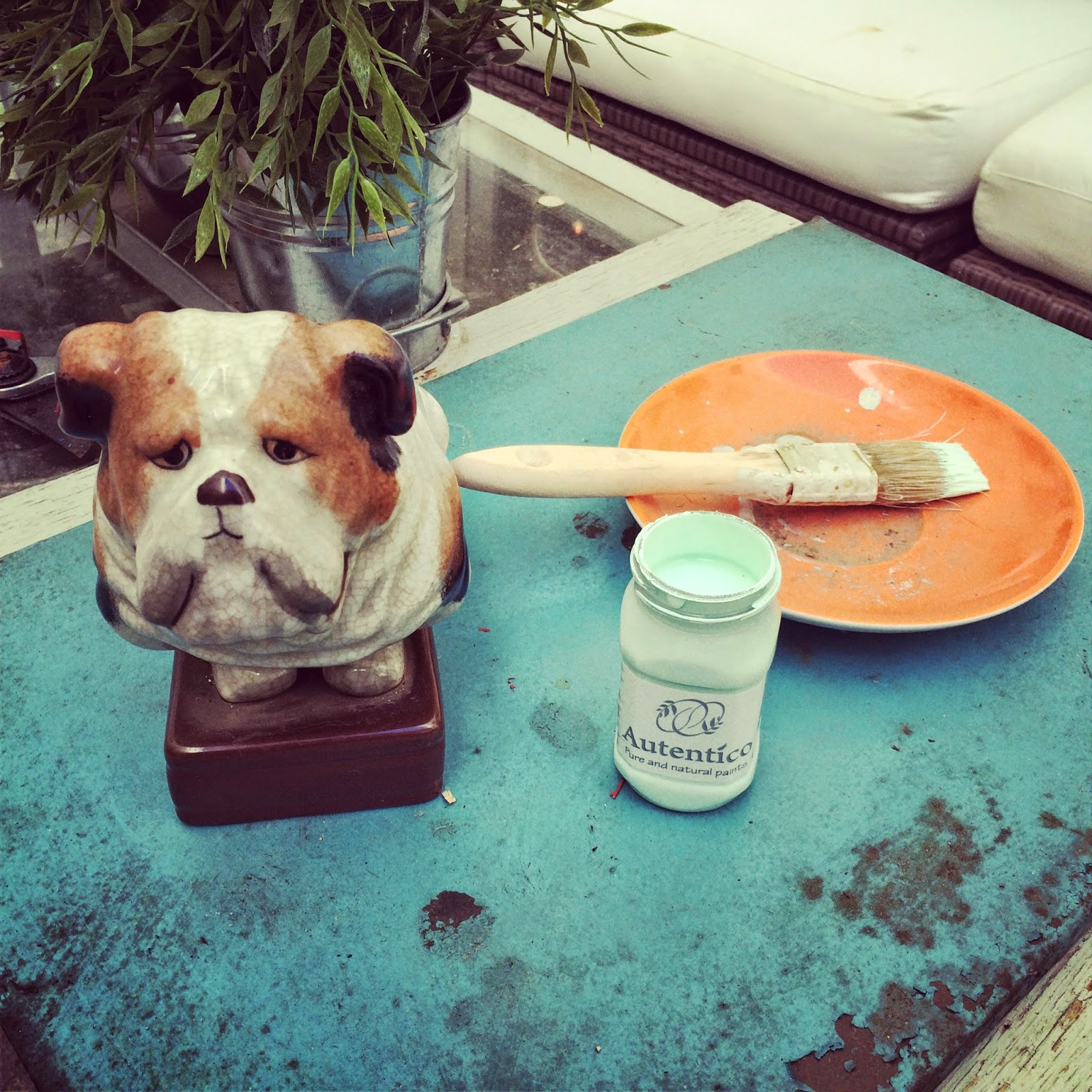 bull-dog porcelana para pintar con chalk-paint