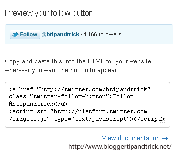 Twitter Follow Button to Blogger