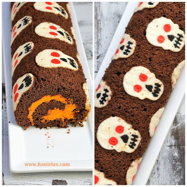 Halloween Decorated Cake Roll : Haniela s: Skull Cake Roll for Halloween