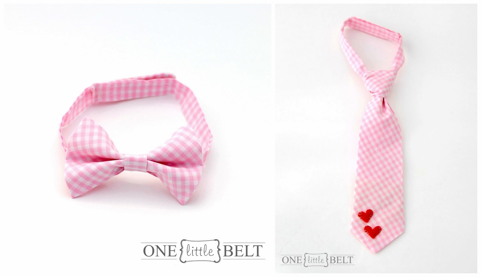 Pink Gingham Valentine's Day bow ties and neckties for babies and toddlers