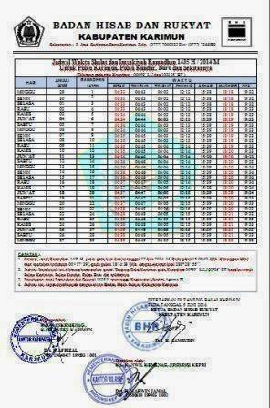 Jadwal Imsakiyah 1435 H Tahun 2014