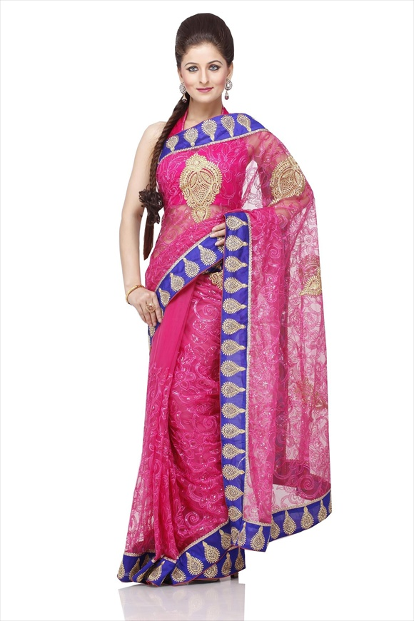 Dull Pink Net Saree