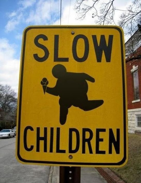 funny road sign, traffic sign, slow children