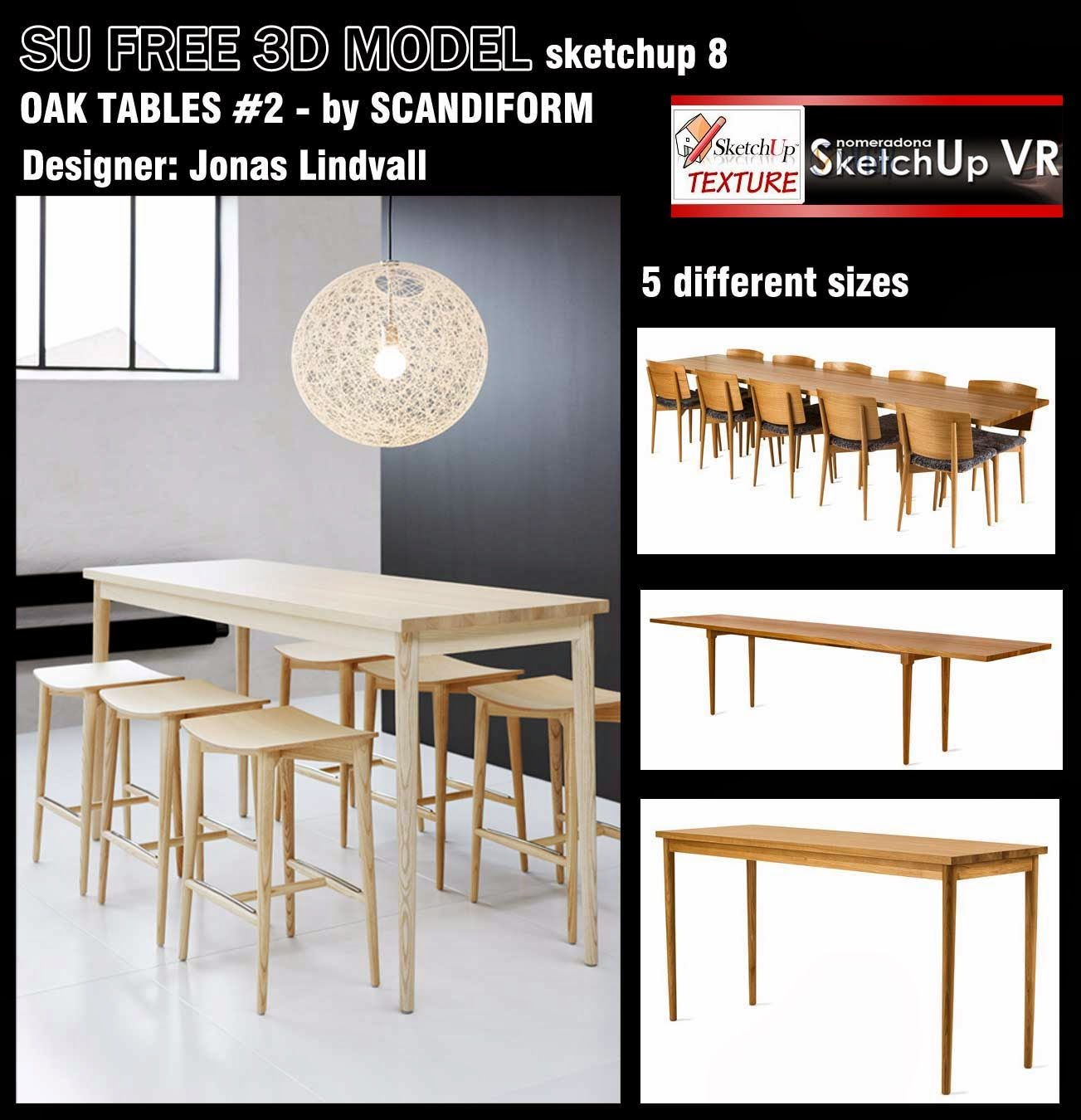 Free sketchup 3d model oak tables design 2 vray for Table design sketchup
