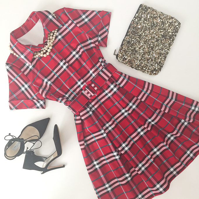 Zara sequin clutch, red plaid belted dress, saks off 5th elin pumps, holiday party outfit, faux pearl necklace