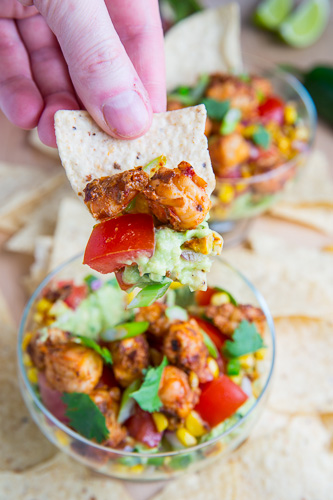 Chipotle Lime Shrimp and Avocado Dip with Tomatoes and Charred Corn