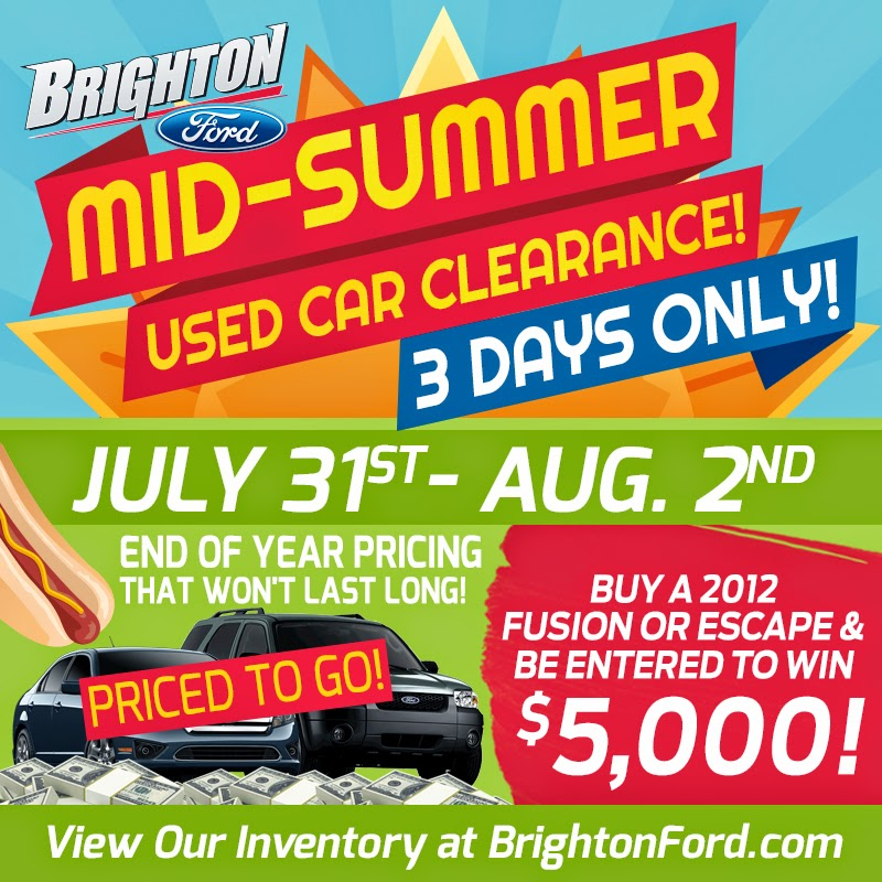 Mid-Summer Used Car Clearance at Brighton Ford in Brighton, MI!