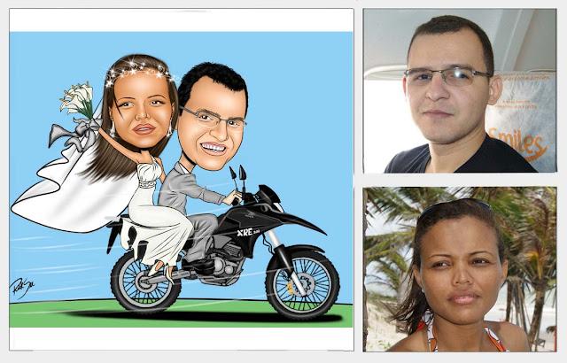 Linda caricatura de noivinhos com moto !!!