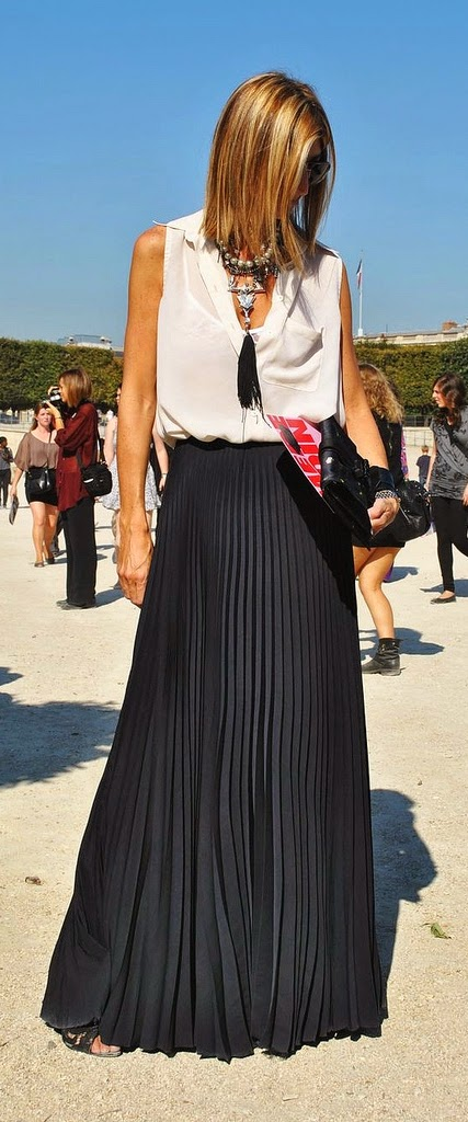 Black Pleated Maxi Skirt with White Sleeveless Top | Summer Outfits