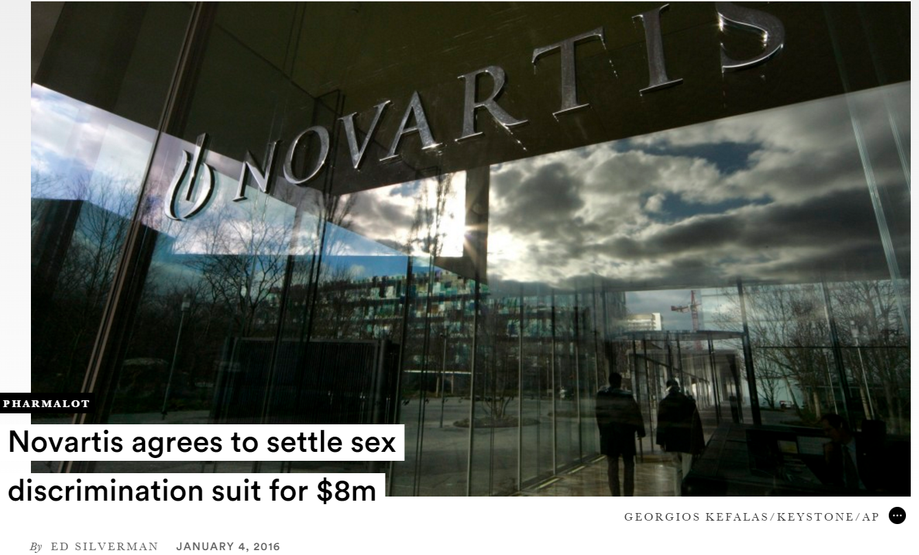 novartis pharmaceutical gender discrimination class action Steven l wittels graduated  the landmark gender discrimination class action against novartis pharmaceuticals, mr wittels led the trial team to the largest class .