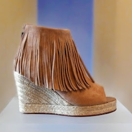 Elyse Walker Los Angeles. Lindsey suede fringed peep toe wedges at Chalk.
