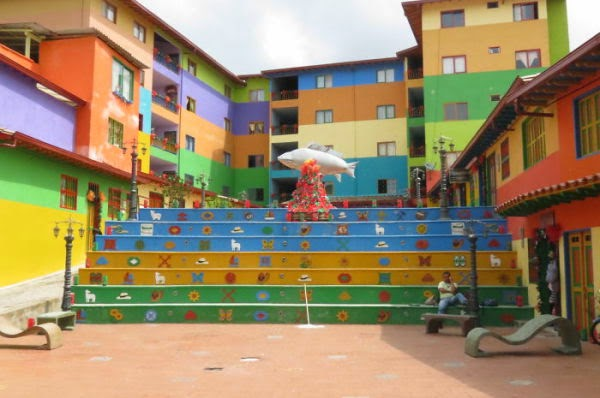 colored stairs - Medellin, Colombia