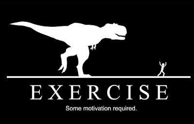 cartoon of a T-Rex chasing a jogger.
