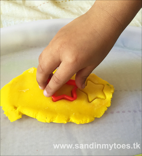 Cutting play dough stars for a fun counting activity!