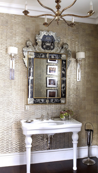powder room gold tiles and venetian mirror <3