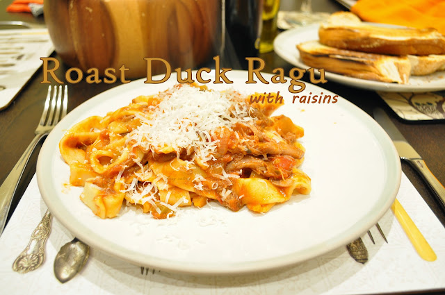 roast duck leg ragu with raisins