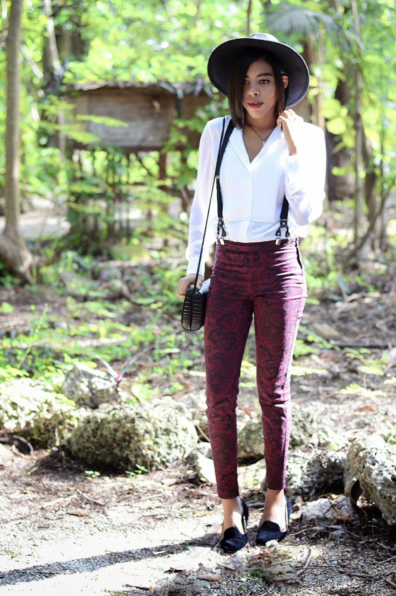 Miami Fashion Blogger Anais Alexandre of Down to Stars in a Phillip Lim for Target top with H&M pants and Urban Outfitter loafers with an ASOS fedora