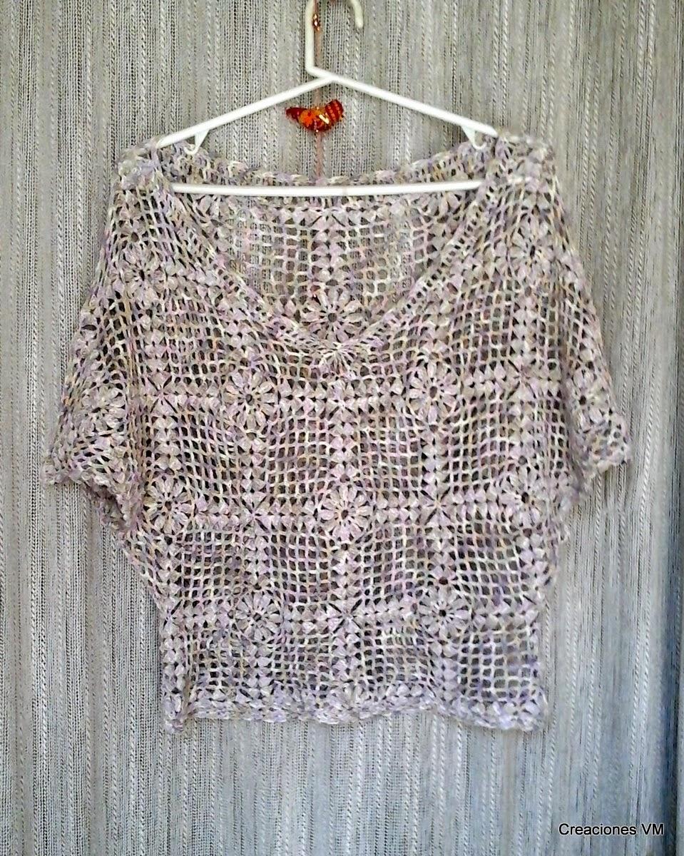 Blusa calada tejida a crochet- VM