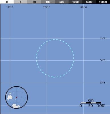 Epicentro sismo 6,0 grados en islas Kermadec, 15 de Junio 2013