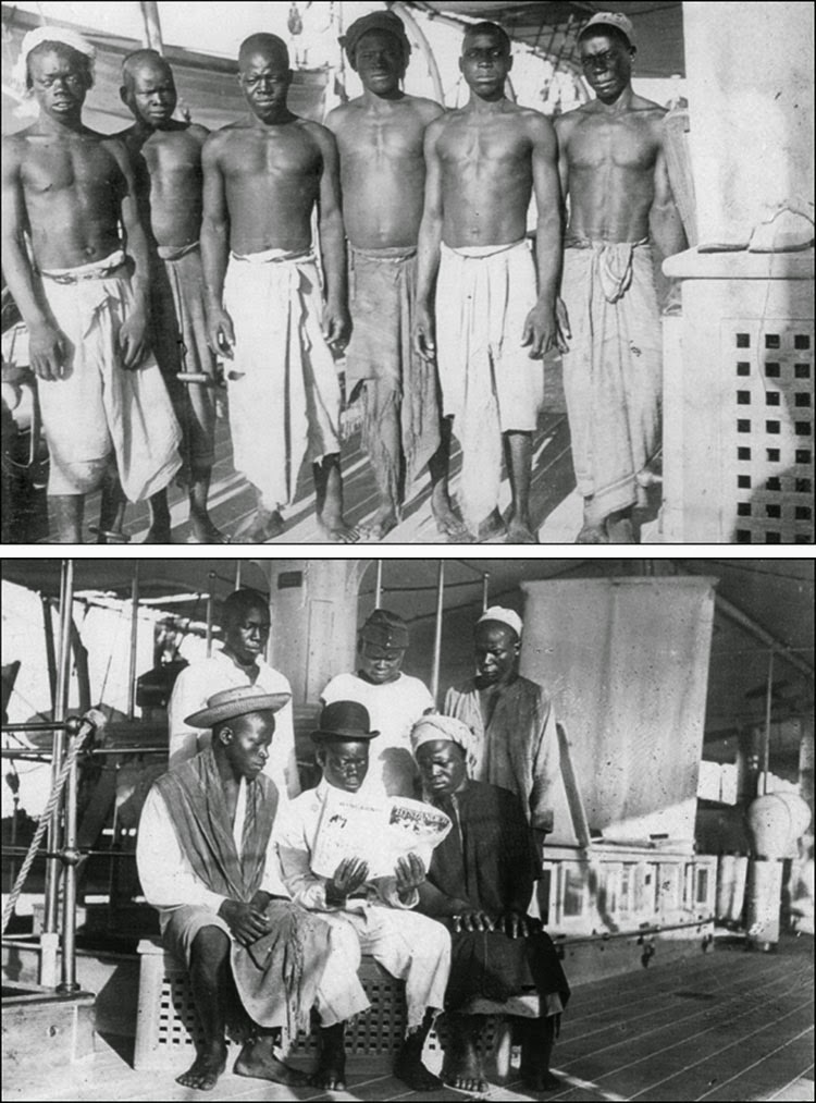 The saved slaves on board of HMS Sphinx. The crew gave them new clothes (second photos).