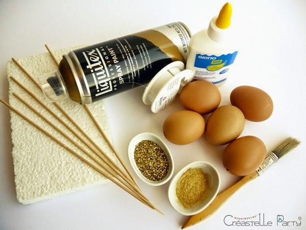 Materiel DIY Oeufs de Pâques à paillettes