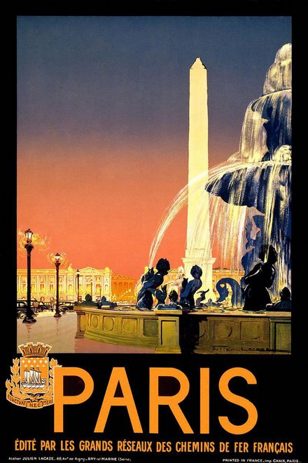printables, classic posters, free download, graphic design, retro prints, travel, travel posters, vintage, vintage posters, french poster, Paris, edite par les grands reseaux des chemins de fer francais - Vintage French Travel Poster