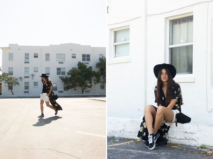 Maria Copello style and fashion blogger at Notes Of Style wears a long vintage kimono, oversize white shorts, silk J. Crew top, Vans Sk8 Hi Top sneakers and a vintage cowboy hat.