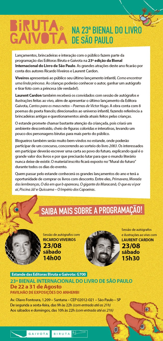 Programação da Bienal de São Paulo - Editora Biruta e Gaivota