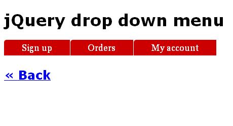 jQuery CSS Menu Drop Down