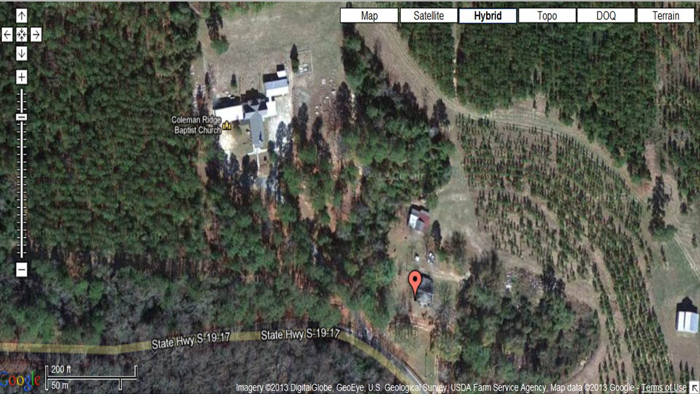the red baloon marks the historical location of coleman ridge school u s geological survey through google maps