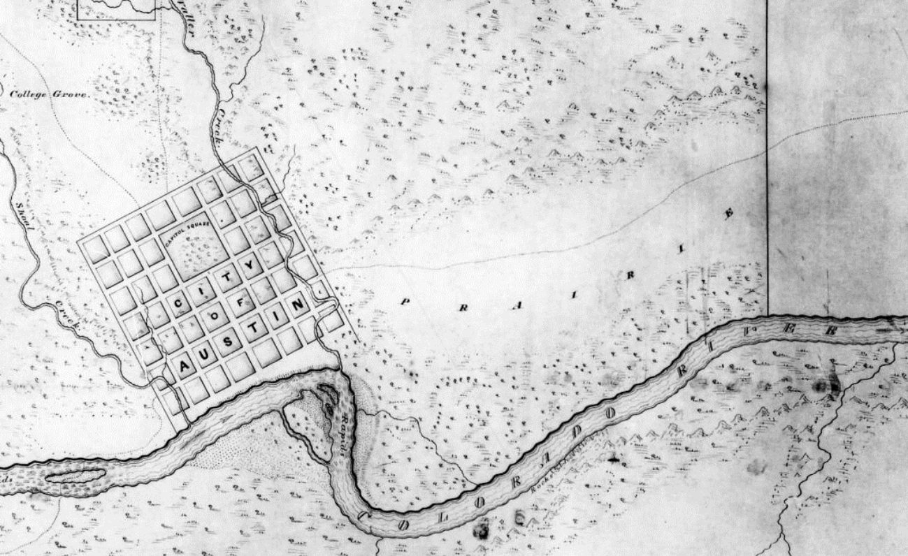 1839 map of austin showing barkley s path of the pioneers which ran through montopolis