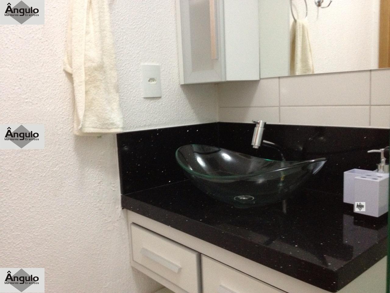 Ângulo Mármores e Granitos Bancada de Banheiro em Silestone Negro Stelar -> Cuba De Vidro Para Banheiro Em Promocao