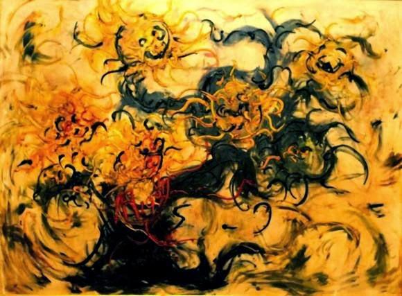 Karya Lukisan Affandi Lima buah bunga matahari