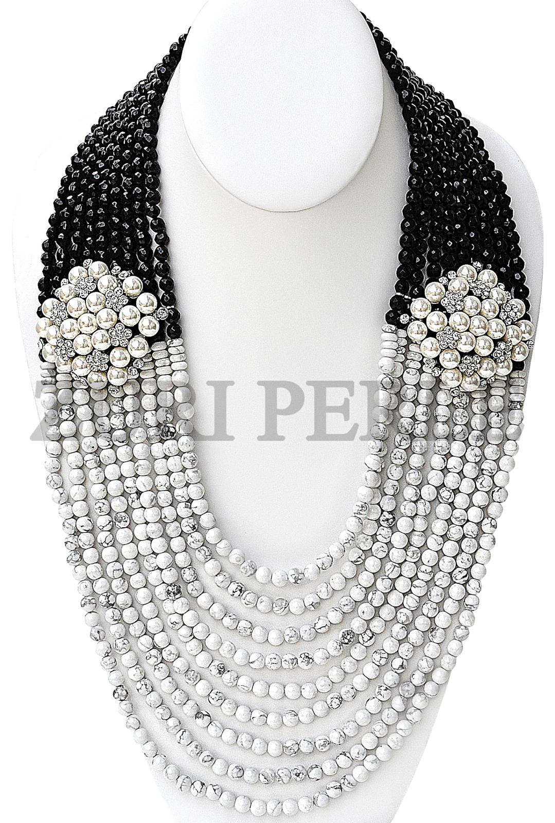 WHITE HOLITE BEADS WITH BLACK FACETED ONYX BEADS