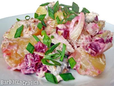 Salata de cartofi cu maioneza reteta