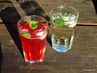 Alkoholfreie Erfrischung: Grenadine-Zitrone und Holunder, jeweils mit frischer Minze