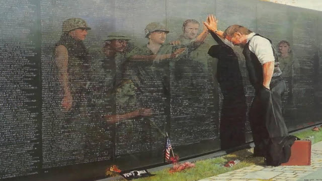 painting of man standing at the Vietnam memorial wall with reflections of the fallen looking back at him