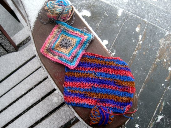 Crochet Scarf Pattern With Self Striping Yarn : The concept of the crocheted square: persistence
