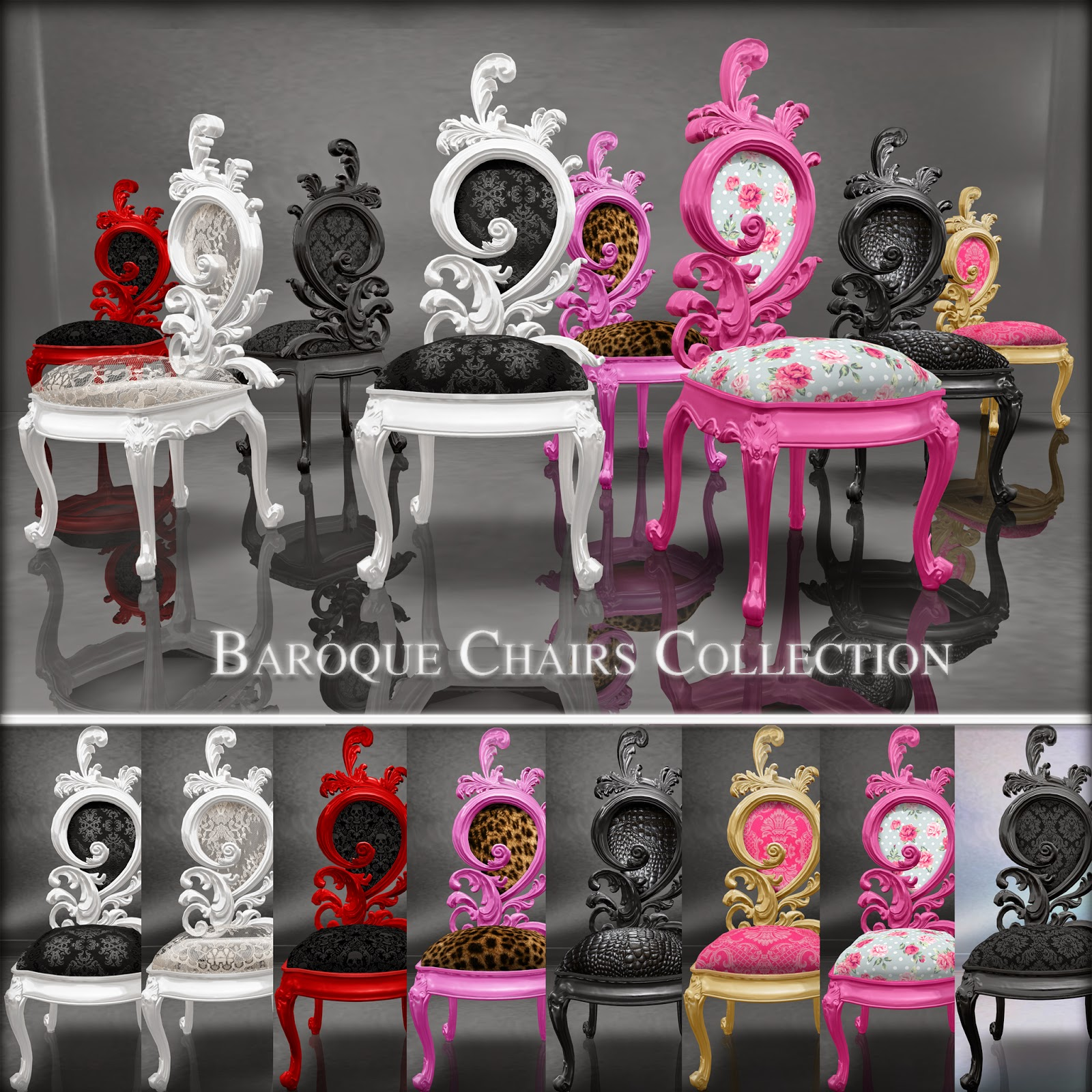 This Lovely Collection Is Created In 8 Different Style Of Baroque Chairs:  Pink/Leopard, White/Black,
