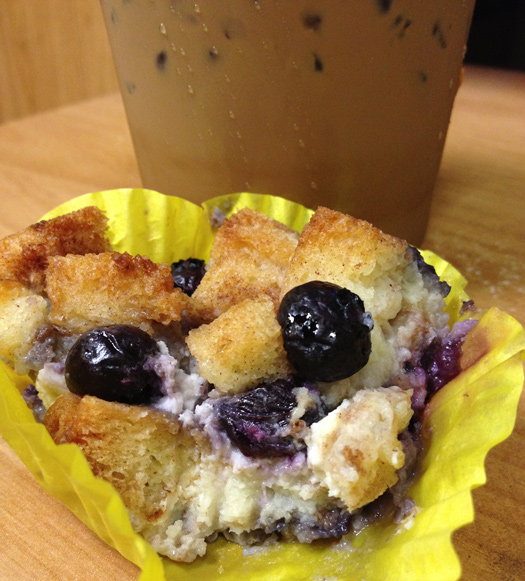 thai coffee + blueberry cream cheese bread pudding.