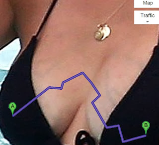 google maps directions to Kourtney Kardashian's left nipple from her right nipple