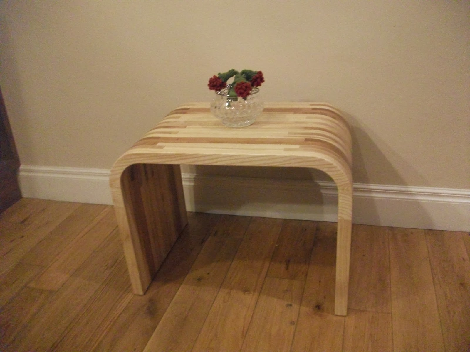 Curved Side Table In Irish Ash And Elm. Price U20ac450