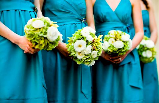 aqua bridesmaids dresses by elegance and simplicity