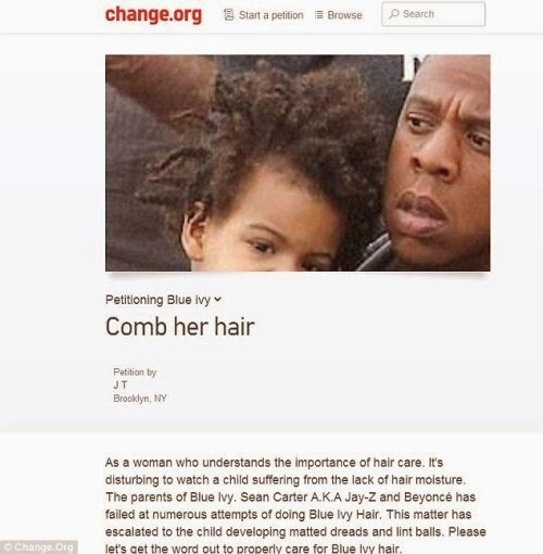 Blue Ivy's Hair Causes Petition Asking Beyonce and Jay Z to Take Better Care of her Hair