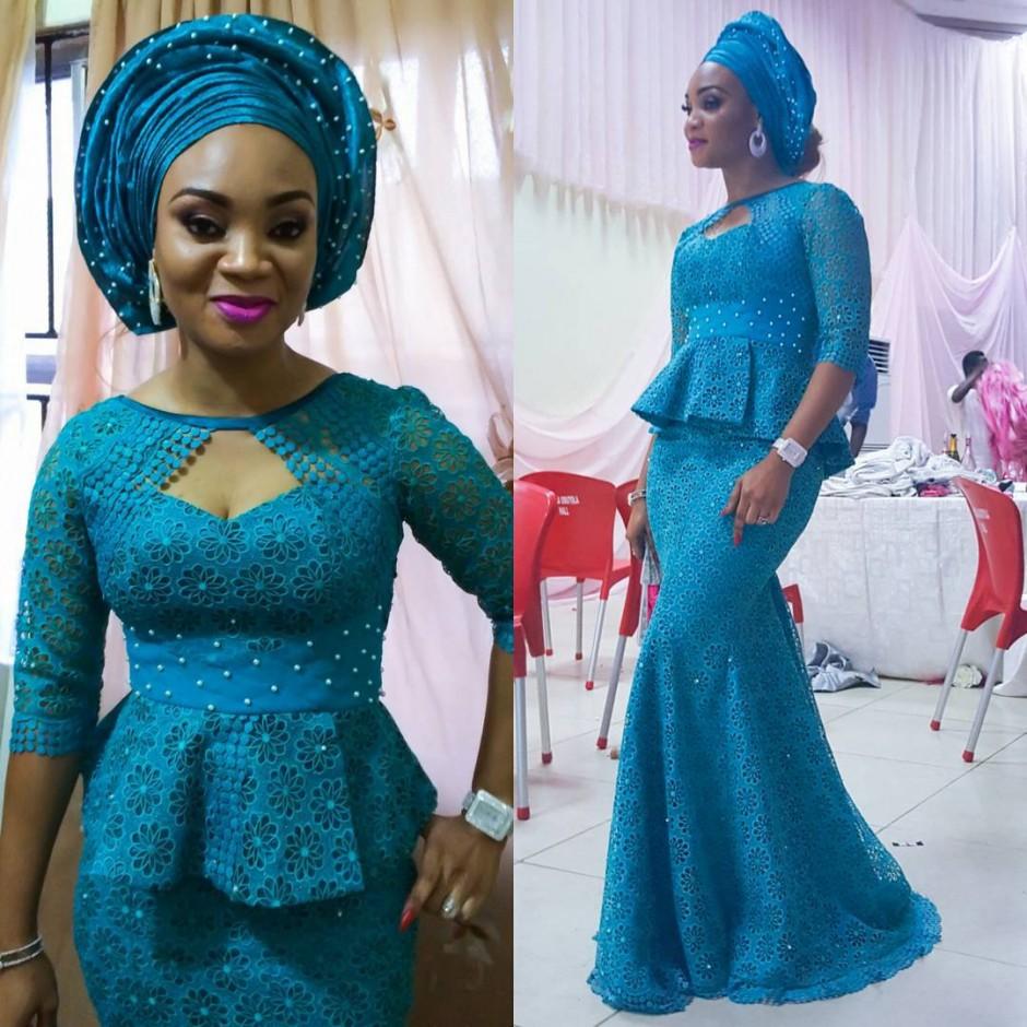 Creative Blue Lace Skirt and Blouse - DeZango Fashion Zone