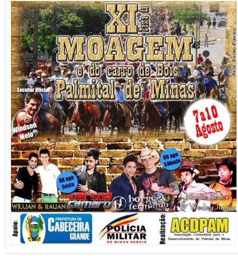 FESTA DA MOAGEM EM PALMITAL -CABECEIRA GRANDE MG