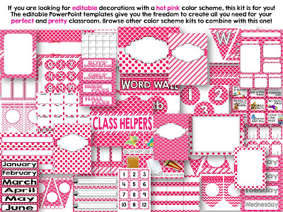 Editable Hot Pink Color Scheme Class Decor Kit
