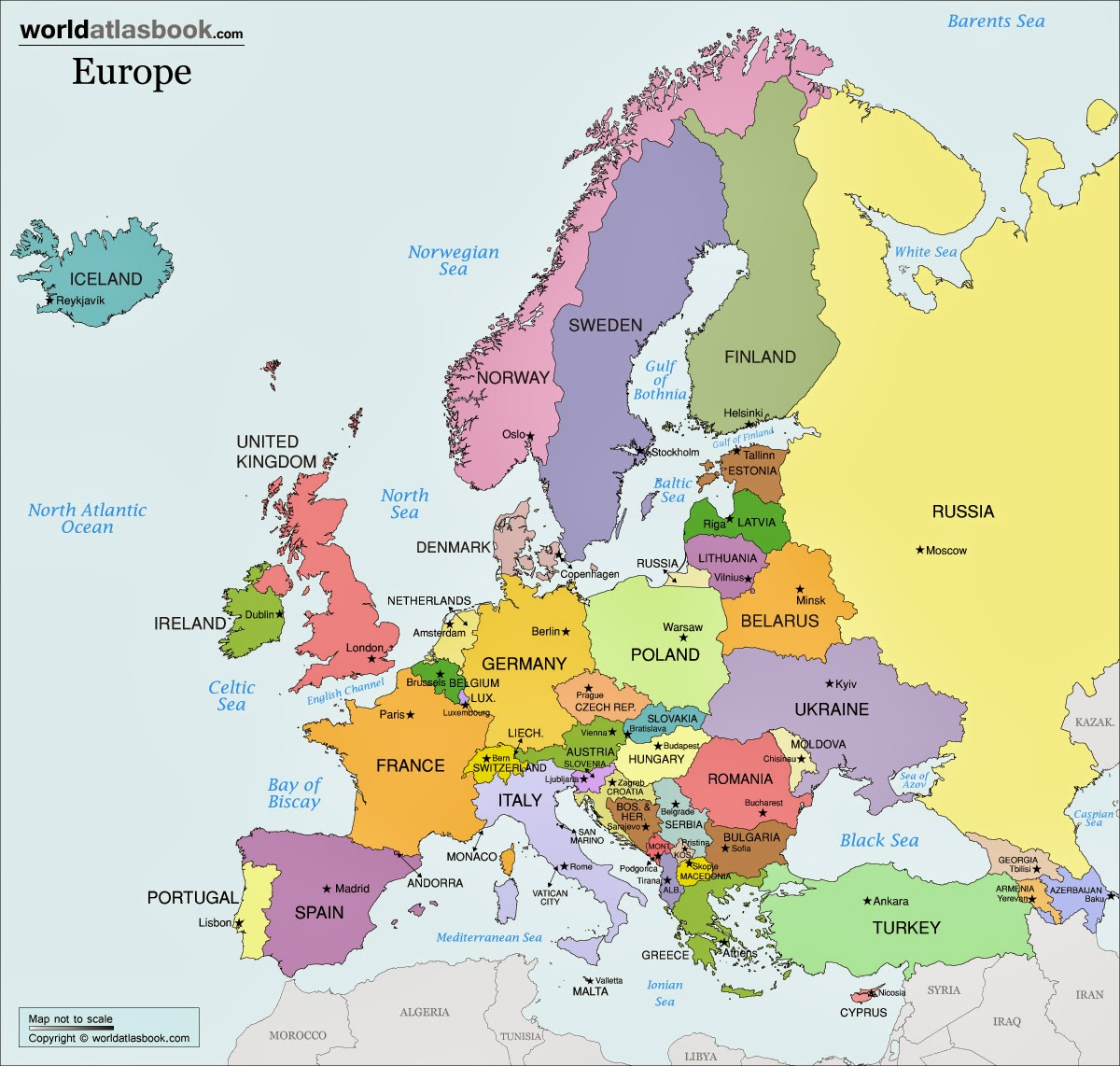 Breathtaking image inside printable map of europe