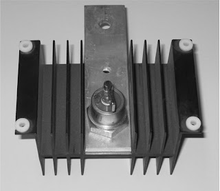 Power diode mounted on an air-cooled heat sink.