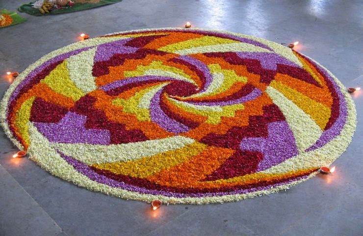 Rangoli Designs and Patterns with Lamps for Diwali 2